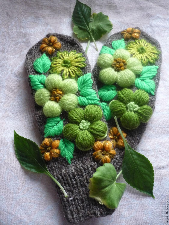 "Mittens & Gloves handmade. Livemaster - handmade. Buy Варежки ручная вышивка ""Лесная прохлада"".Mittens, floral"