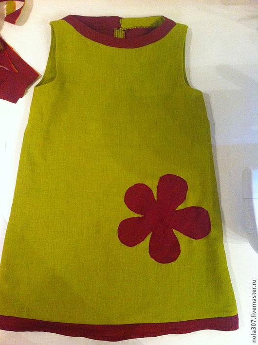 Одежда для девочек, ручной работы. Ярмарка Мастеров - ручная работа. Купить Платье с цветком для девочки 4 года.. Handmade. Салатовый