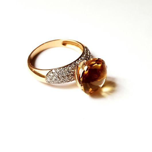 Кольца ручной работы. Ярмарка Мастеров - ручная работа. Купить кольцо золото 585 пробы бриллианты цитрин. Handmade. Кольцо