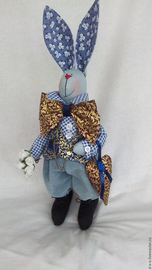 """Игрушки животные, ручной работы. Ярмарка Мастеров - ручная работа. Купить Тильда заяц """"Аввакум Влюбчивый"""". Handmade. Комбинированный, влюбленные"""