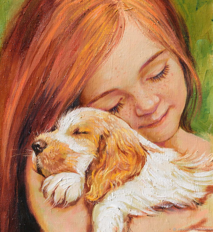 Картинки девочка и собака нарисованная