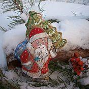 Подарки к праздникам ручной работы. Ярмарка Мастеров - ручная работа Дед Мороз . Кофейная ёлочная игрушка. Роспись.. Handmade.