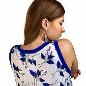 Одежда handmade. Livemaster - original item Dress long Maxi linen loose with pockets Cornflower leaves. Handmade.