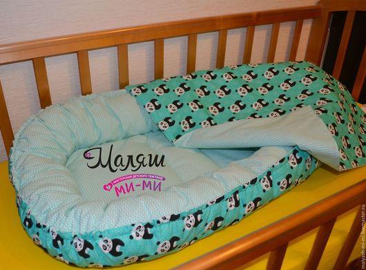 Детская ручной работы. Ярмарка Мастеров - ручная работа. Купить Кокон-гнездышко для новорожденного+одеялко. Handmade. Бирюзовый, в кроватку, в детскую, холлофайбер