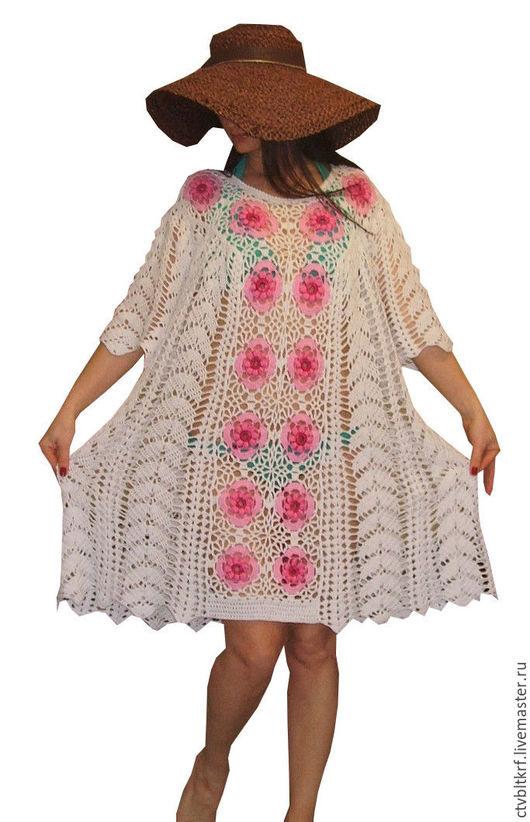 """Пляжные платья ручной работы. Ярмарка Мастеров - ручная работа. Купить Вязаное пляжное платье """"Бело-розовый прибой"""". Handmade."""