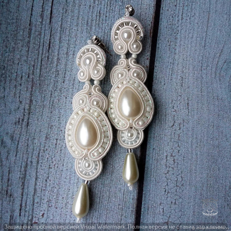 543a24da9 ... Wedding Jewelry handmade. Wedding long soutache earrings from the  collection 'Russian beauty'.