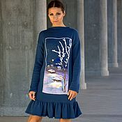 Одежда handmade. Livemaster - original item Blue knitted wool dress with embroidery