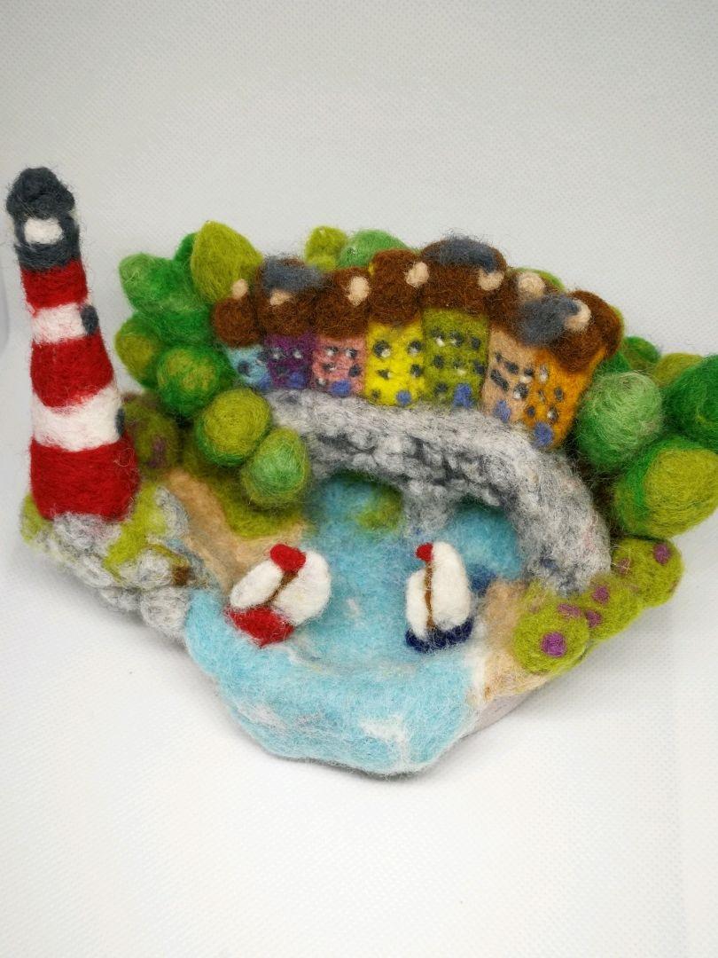 Валяная панорама миниатюра Приморский городок, Войлочная игрушка, Ступино,  Фото №1
