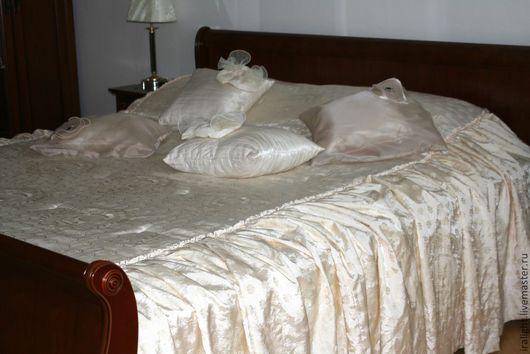 Текстиль, ковры ручной работы. Ярмарка Мастеров - ручная работа. Купить Покрывало на кровать Эстель Экрю. Handmade. Покрывало, тафта