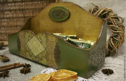 """Кухня ручной работы. Ярмарка Мастеров - ручная работа. Купить Чайный короб """"Green tea"""" мини. Handmade. Тёмно-зелёный"""