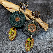 Украшения ручной работы. Ярмарка Мастеров - ручная работа украшение серьги из полимерной глины и керамики лесные. Handmade.