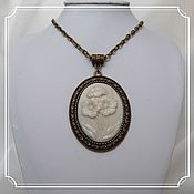 Субкультуры handmade. Livemaster - original item Pendant with cameo (flowers) on a chain. Handmade.