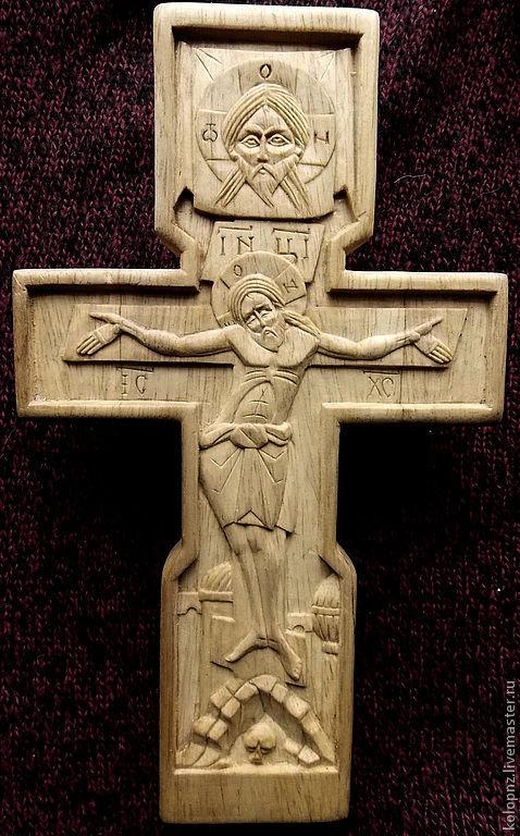 Иконы ручной работы. Ярмарка Мастеров - ручная работа. Купить Крест резной. Handmade. Бежевый, крест православный, спас нерукотворный