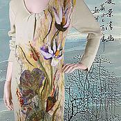 Одежда ручной работы. Ярмарка Мастеров - ручная работа Лотосы Платье вязаное с валяным декором. Handmade.