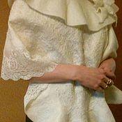 палантин свадебный, валяние из шерсти мериноса с кружевом