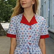 """Одежда ручной работы. Ярмарка Мастеров - ручная работа платье """"С красным воротничком"""". Handmade."""
