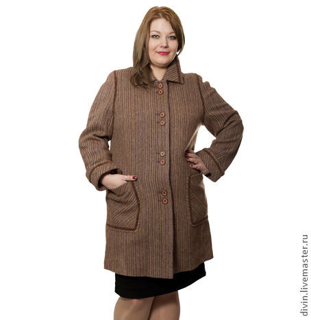 Верхняя одежда ручной работы. Ярмарка Мастеров - ручная работа. Купить Пальто Adele fedora большого размера. Handmade. Коричневый