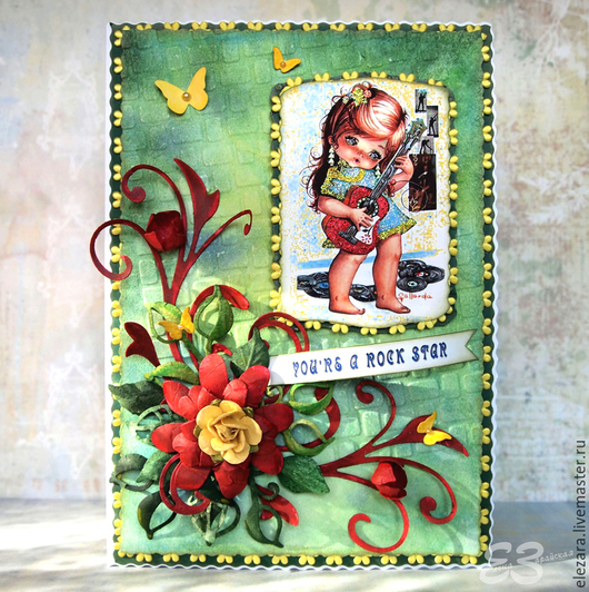 """Открытки на все случаи жизни ручной работы. Ярмарка Мастеров - ручная работа. Купить """"Ты - рок звезда!"""" - открытка ручной работы. Handmade."""