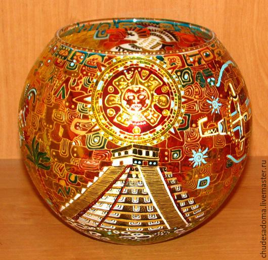 """Подсвечники ручной работы. Ярмарка Мастеров - ручная работа. Купить Крупный подсвечник - ваза с росписью под витраж """"Индейцы майя"""". Handmade."""