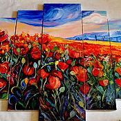 Картины и панно ручной работы. Ярмарка Мастеров - ручная работа модульная картина масло Маковое поле. Handmade.