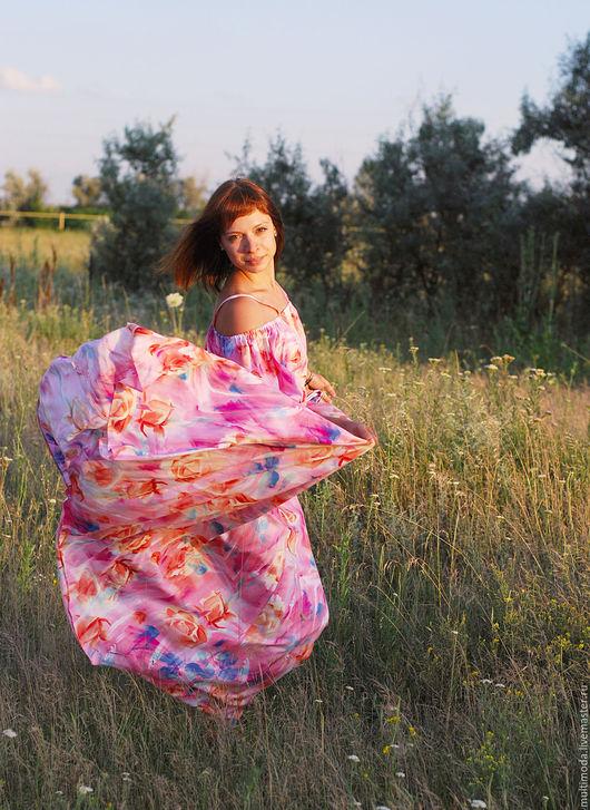 Платья ручной работы. Ярмарка Мастеров - ручная работа. Купить платье ..Крестьянка... Handmade. Коралловый, натуральные материалы