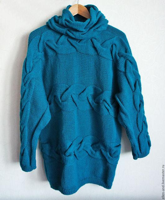 Кофты и свитера ручной работы. Ярмарка Мастеров - ручная работа. Купить Свитер оверсайз.. Handmade. Морская волна, снуд вязаный