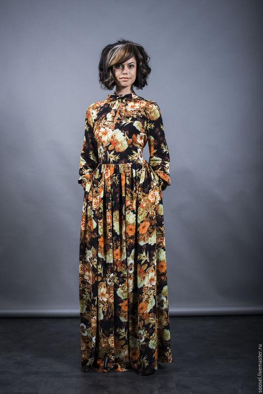 """Платья ручной работы. Ярмарка Мастеров - ручная работа. Купить Платье """"Цветы на черном"""". Handmade. Черный, платье, вечернее платье"""