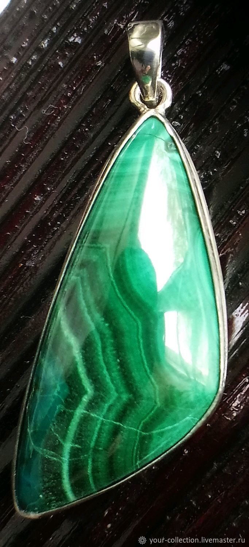 Подвески: Малахит с хризоколлой в серебре, Подвеска, Екатеринбург,  Фото №1