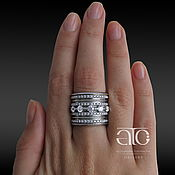 Украшения handmade. Livemaster - original item Wide ring with cubic Zirconia. 925 sterling silver. Handmade.