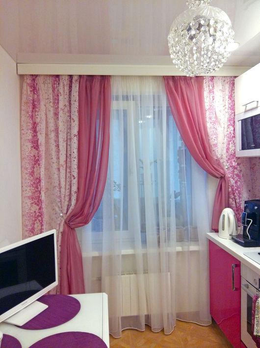 Текстиль, ковры ручной работы. Ярмарка Мастеров - ручная работа. Купить Легкие шторы для кухни из розовой органзы. Handmade. Фуксия