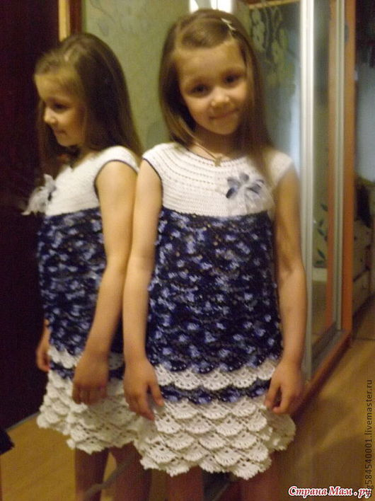 """Одежда для девочек, ручной работы. Ярмарка Мастеров - ручная работа. Купить платье """"Морские волны"""". Handmade. Тёмно-синий, хлопок"""