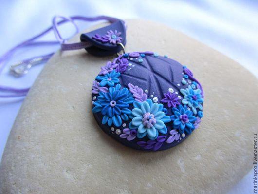 """Кулоны, подвески ручной работы. Ярмарка Мастеров - ручная работа. Купить Кулон """"Цветы по кругу"""". Handmade. Тёмно-фиолетовый, кулон"""