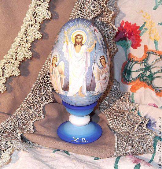 Яйца ручной работы. Ярмарка Мастеров - ручная работа. Купить Яйцо пасхальное роспись Иисус Христос с ангелами. Handmade. Голубой