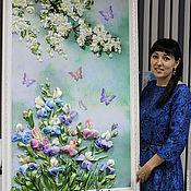 Картины и панно ручной работы. Ярмарка Мастеров - ручная работа «Ароматы весны» (вышивка лентами). Handmade.