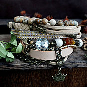 Украшения handmade. Livemaster - original item Beige boho bracelet with Jasper and crystal