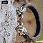 Украшения handmade. Livemaster - original item Silver bracelet Panther, leather. Handmade.