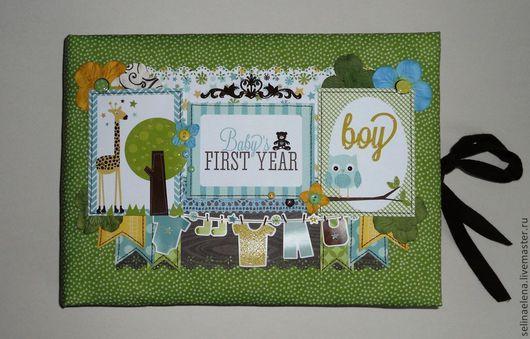 """Подарки для новорожденных, ручной работы. Ярмарка Мастеров - ручная работа. Купить Альбом """"Baby's first year"""". Handmade. Зеленый"""