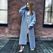 Одежда handmade. Livemaster - original item Blue cardigan with a scythe knit. Handmade.
