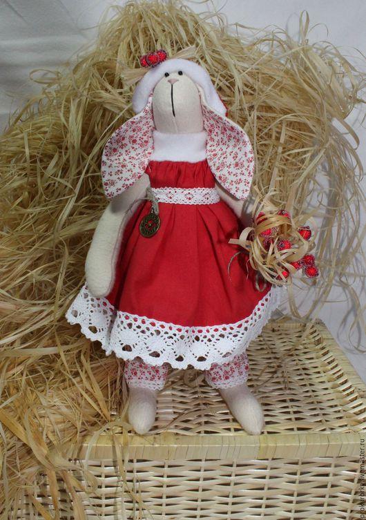 Куклы Тильды ручной работы. Ярмарка Мастеров - ручная работа. Купить Новогодняя зайчиха. Handmade. Ярко-красный, новогодний подарок