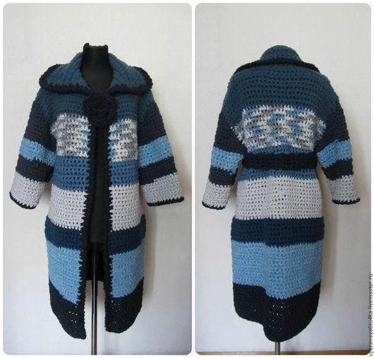"""Верхняя одежда ручной работы. Ярмарка Мастеров - ручная работа. Купить Пальто вязанное """" Ах, эта милая джинса"""". Handmade."""