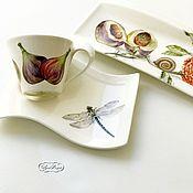 Посуда ручной работы. Ярмарка Мастеров - ручная работа Роспись фарфора Чайная пара Инжир, яблоко, груша. Handmade.