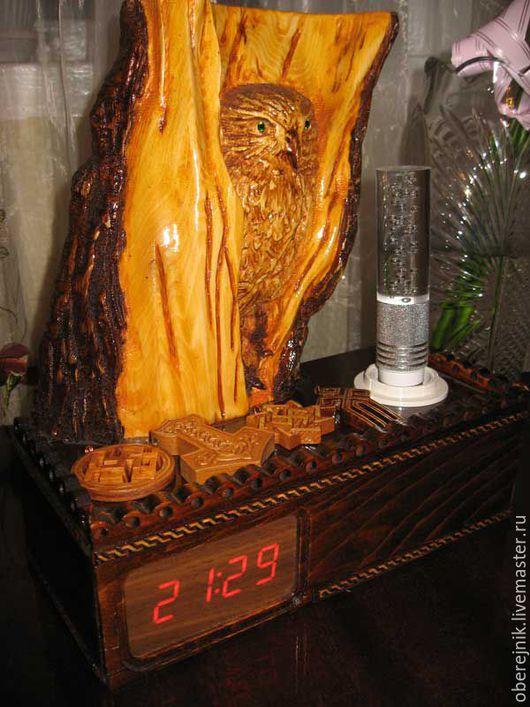Часы для дома ручной работы. Ярмарка Мастеров - ручная работа. Купить Часы электронные + светильник 16 цветов Сова.. Handmade.