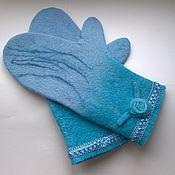 Аксессуары handmade. Livemaster - original item Felted mittens. Woolen mittens. Mittens blue.. Handmade.