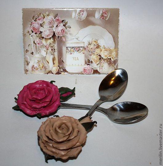 """Ложки ручной работы. Ярмарка Мастеров - ручная работа. Купить Комплект чайных ложек """"Чайная роза"""".. Handmade. Розы, подарок"""