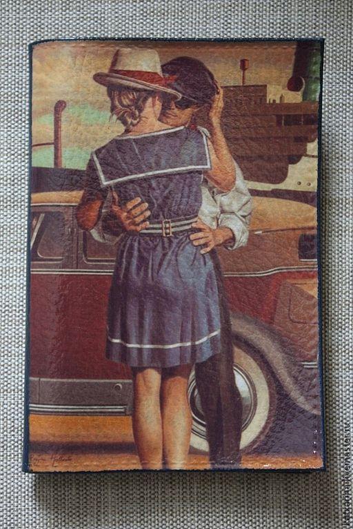 """Обложки ручной работы. Ярмарка Мастеров - ручная работа. Купить Обложка на паспорт """"Встреча влюбленных"""". Handmade. Синий, краски акриловые"""
