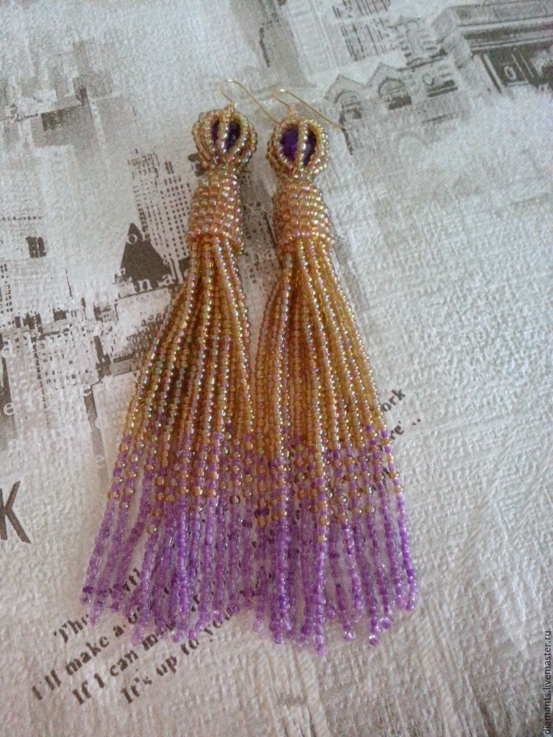 Earrings-brush-beaded, earrings Jasmine earrings Cleopatra, Tassel earrings, Moscow,  Фото №1