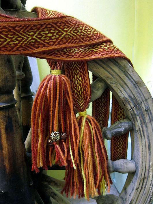 Ткачество ручной работы. Ярмарка Мастеров - ручная работа. Купить Тканый на дощечках пояс Осень - Времена Года. Handmade. Рыжий