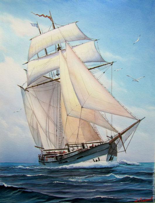 Пейзаж ручной работы. Ярмарка Мастеров - ручная работа. Купить Попутный ветер. Handmade. Голубой, парусник, парусный корабль, море