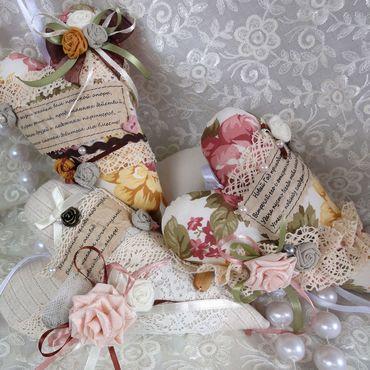 Куклы и игрушки ручной работы. Ярмарка Мастеров - ручная работа Тильда сердечки с новогодними пожеланиями. Handmade.