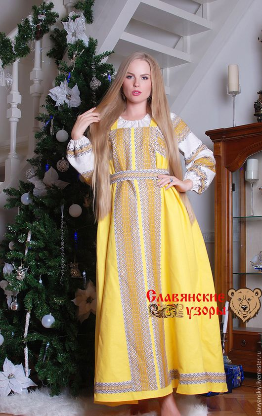 Этническая одежда ручной работы. Ярмарка Мастеров - ручная работа. Купить Сарафан косоклинный желтый. Handmade. Желтый, сарафан в пол